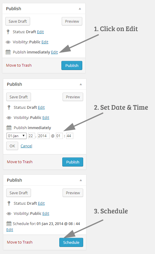 Schedule Post in WordPress Image