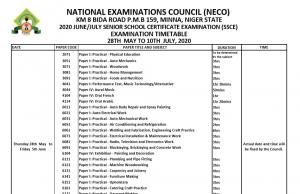 NECO Timetable 2020 Screenshot