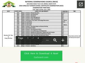 Neco Timetable