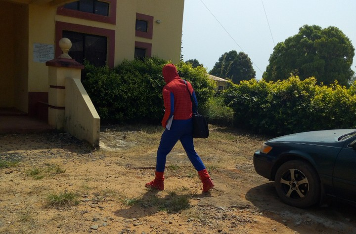 Lecturer dressed like spiderman