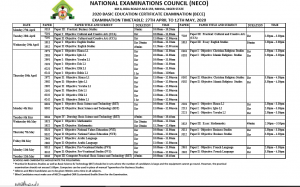Junior WAEC (NECO BECE) 2020 Timetable