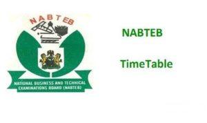 NABTEB GCE 2019/2020 Timetable - Nov/Dec Candidates