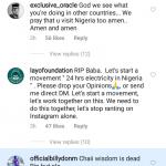 Tunde Ednut Instagram Post on Mugabe's Death