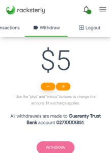 Racksterly Withdrawal Page