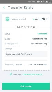 Opera News Hub Withrawal Payment Proof